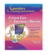 Image of the book cover for 'SAUNDERS NURSING SURVIVAL GUIDE: CRITICAL CARE & EMERGENCY NURSING'