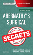 Image of the book cover for 'Abernathy's Surgical Secrets'