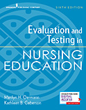 Image of the book cover for 'Evaluation and Testing in Nursing Education'