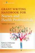 Image of the book cover for 'Grant Writing Handbook for Nurses and Health Professionals'