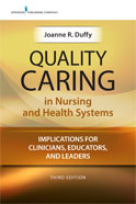 Image of the book cover for 'Quality Caring in Nursing and Health Systems'