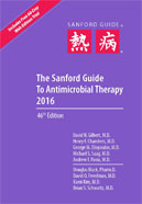 Image of the book cover for 'THE SANFORD GUIDE TO ANTIMICROBIAL THERAPY 2016'