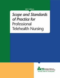 Image of the book cover for 'Scope and Standards of Practice for Professional Telehealth Nursing'